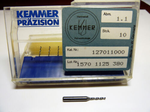 10 Kemmer-Prazision Tungsten Carb Micro Drill Bits 1.1mm #57 no 57 drill bit NEW