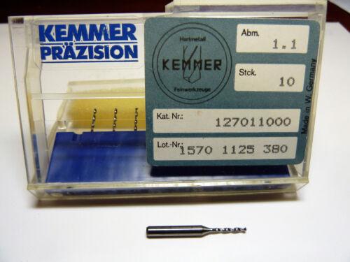 10 Kemmer-Prazision Tungsten Carb Micro Drill Bits 1.1mm #57 no 57 drill bit NEW