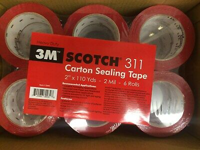 6 Rolls 3m Scotch 311 2x110yd 2 Mil Carton Sealing Tape Heavy Duty Red
