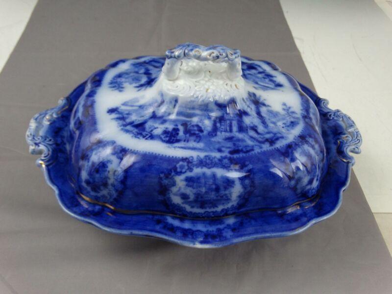 Antique Ridgways Flow Blue Oriental Pattern Covered Serving Dish