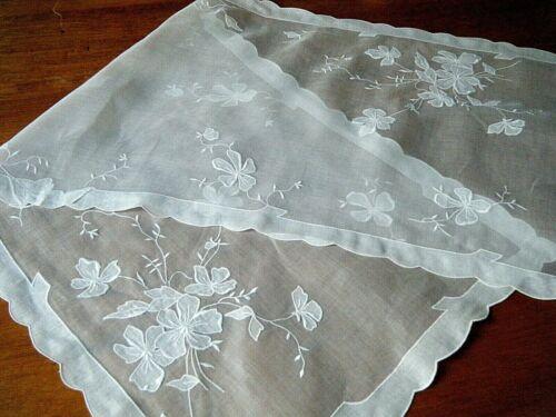 Antique Madeira voile runner Embroidered & appliqued floral design & borders.