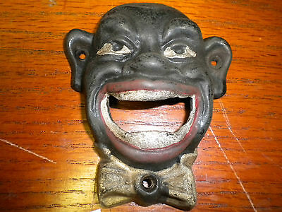 Black Face cast iron bottle opener or paper weight new antique finish wall - Wall Mount Bottle Openers