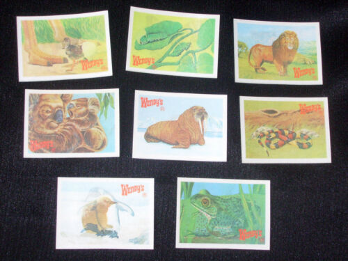RARE! VINT. WENDYS LENTICULAR CHANGE THE ANIMAL PICTURE CARDS COMPLETE SET of 8