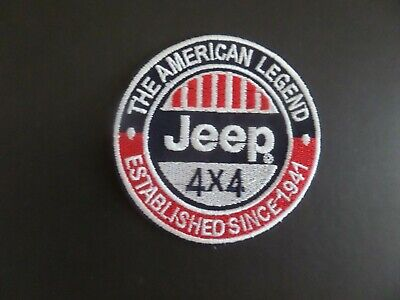 """JEEP 4 X 4 -"""" AUTO BLUE  & RED EMBROIDERED IRON ON PATCHES 3 X 3"""