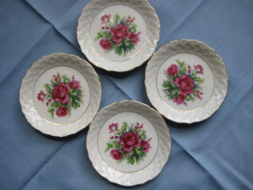 Lot of 4 Porcelain Butter Pats Red Roses Estate TJ-5