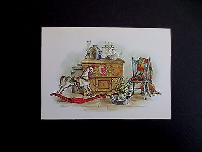 Unused Red Farm Studios Xmas Greeting Card Victorian Hobby Horse Still Life