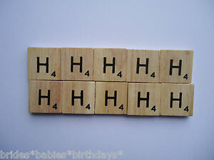 10-Hs-Wooden-Scrabble-Tiles-2cm-x-2cm-scrapbooking-Weddings-Pendants-Magnets