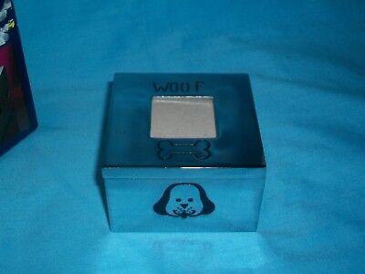 Silver Plated Square Hinged Trinket/Jewelry/Photo Keepsake Box w/Dog~Puppy Puppy Keepsake Box