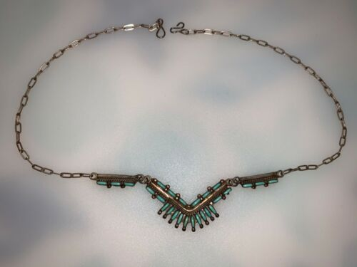 Vintage 1990 turquoise sterling silver necklace w/ original box signed RS