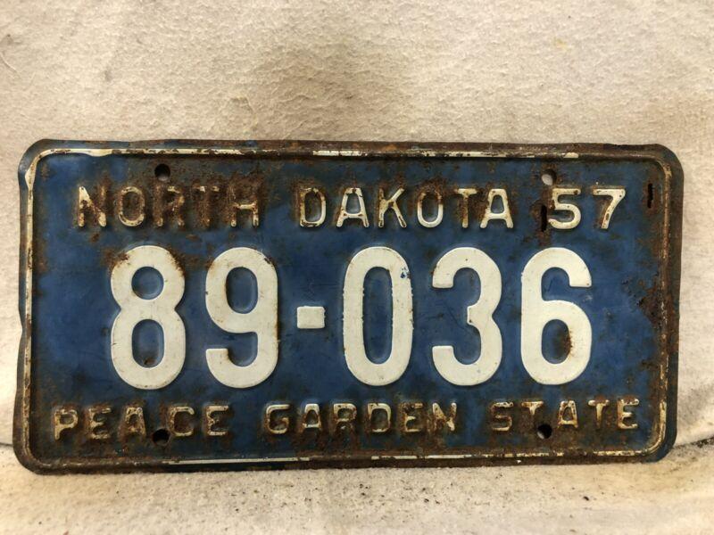 Vintage 1957 North Dakota License Plate