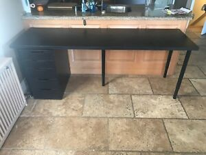 IKEA Linmon/Alex Black Brown Desk with Drawers
