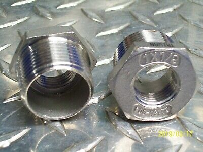 Lot Of 2 Stainless Steel Bushing Reducer 1 X 12 Npt Pipe M 150-304 Threaded