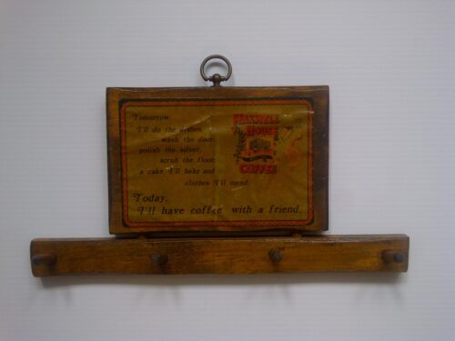 """VINTAGE -- MAXWELL HOUSE COFFEE WALL KEY HOLDER -- MADE OF WOOD -- """"RARE"""""""
