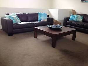 2 x Real Chocolate Leather Sofas 2.5 seaters Sandringham Bayside Area Preview