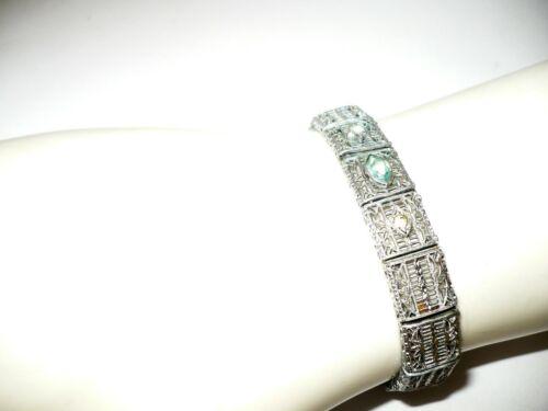 Antique Art Deco Rhodium Filigree Link Flexible Bracelet Open Back Blue Stone