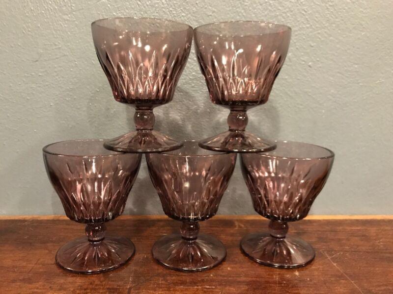 """5 Hazel Atlas MCM MOROCCAN AMETHYST Purple 4 1/4"""" ~ 5oz Goblets Wine Sherbet"""
