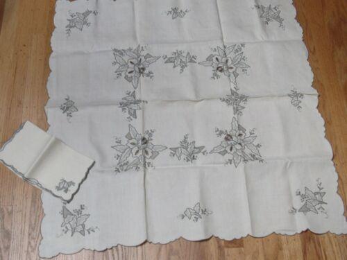 "Vintage Beige Madeira Grey Embroidered Cutwork 33"" Tablecloth 4 Napkins Unused"