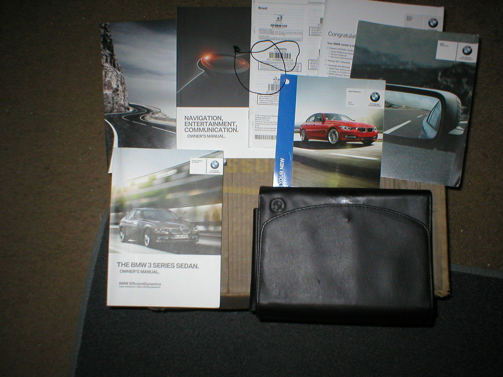 2013 BMW 3 Series Sedan owners manual set with cover case and navigation manual