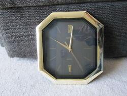 Ingraham Wall Hanging Clock Quartz Movement Retro Brass Deco Decor octagonal