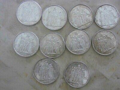 10 pièces argent 1965 à 1973 années variées photo non contractuelle. 250 gr.