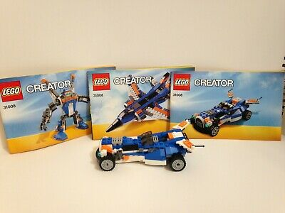 Lego 31008 Creator 3 in 1 set Thunder wings plane/robot/car all pieces & books