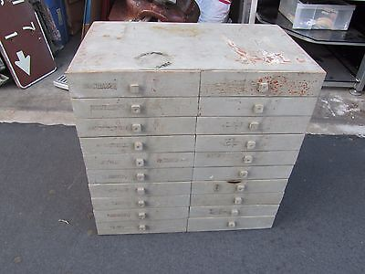 Vintage Hardware Apothecary 20 Drawers Cabinet Bin Pulls Tool Cubby Old Wood