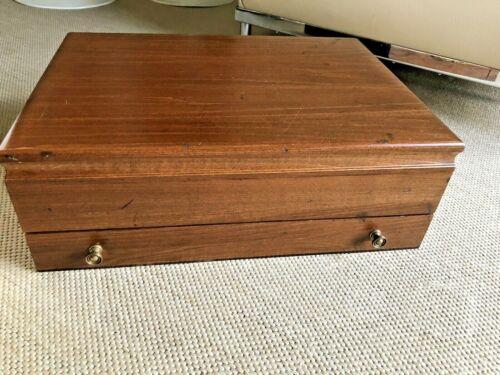 """Vintage Large Flatware Wooden  Storage Chest Case Box w/ Drawer  16 x 12"""" x6 """""""