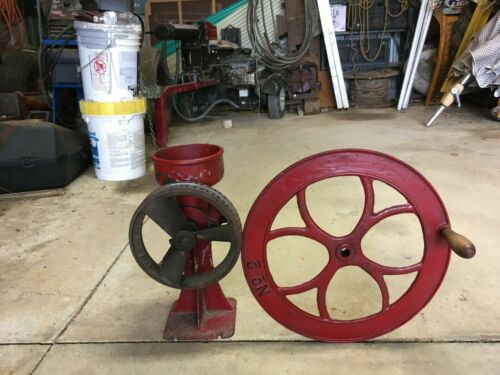 Vtg C.S.Bell Red Cast Iron Hand Crank or pulley driven Grist Mill Grinder