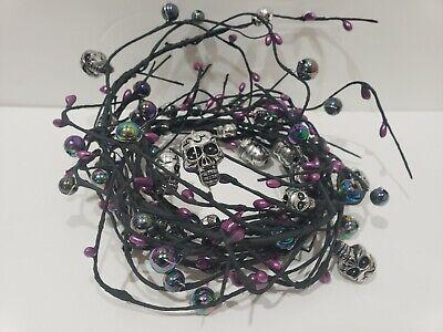 Halloween Iridescent Blue Purple Green Skull Beaded Ball Garland 5FT NEW
