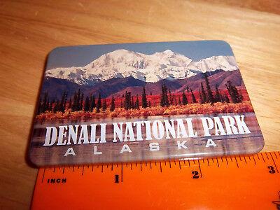 Alaska tinplate Magnet Denali National park nice mountain photo, fall colors ()