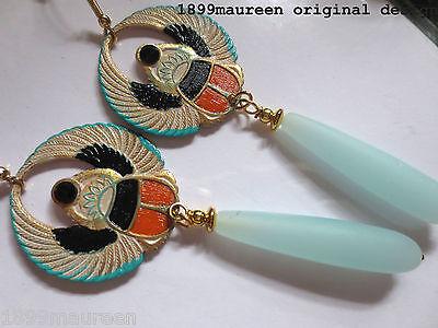 Egyptian Revival Art Deco earrings  long drop Art Nouveau 1920s vintage style