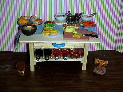 Bufetttisch für Rauchfangküche,Toast Zubereitung/Sossen/Bestecke CATRICHEN 1:12