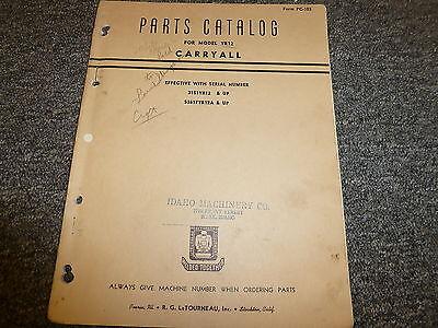 R G Letourneau Model Yr12 Carryall Scraper Parts Catalog Manual Book