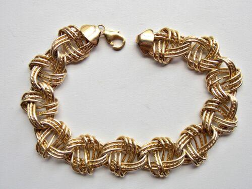 VTG. OT TURKEY STERLING SILVER GOLD VERMEIL TEXTURED WOVEN KNOT LINK BRACELET