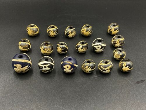 Antique Old Glass Beads from South east Asia with Unique Bird figure design rare