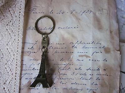 ~ Bronze EIFFEL Tower Key Chain Embellishment Souvenir from PARIS ~