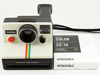 Vintage Polaroid SX-70 OneStep White Rainbow Stripe Land Camera with Film TESTED
