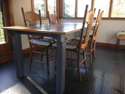 rustic kitchen dining table, kauri pine top, blue distressed legs