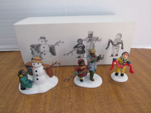 Dept. 56 1996 Christmas In The City Playing In The Snow Making A Snowman 3 Pcs.