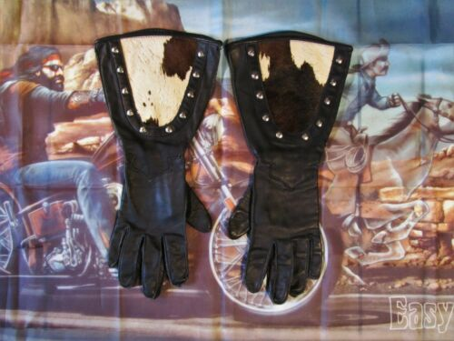 HARLEY DAVIDSON RARE VINTAGE 1993 MOO COW GLIDE LEATHER GLOVES USA MADE SIZE M