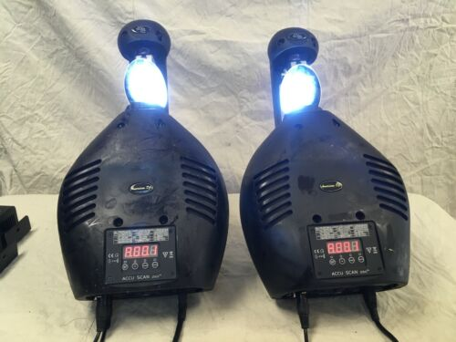 PAIR ADJ Accu SCAN 250 Used with CASE DMX Scanner sticky plastic working fine