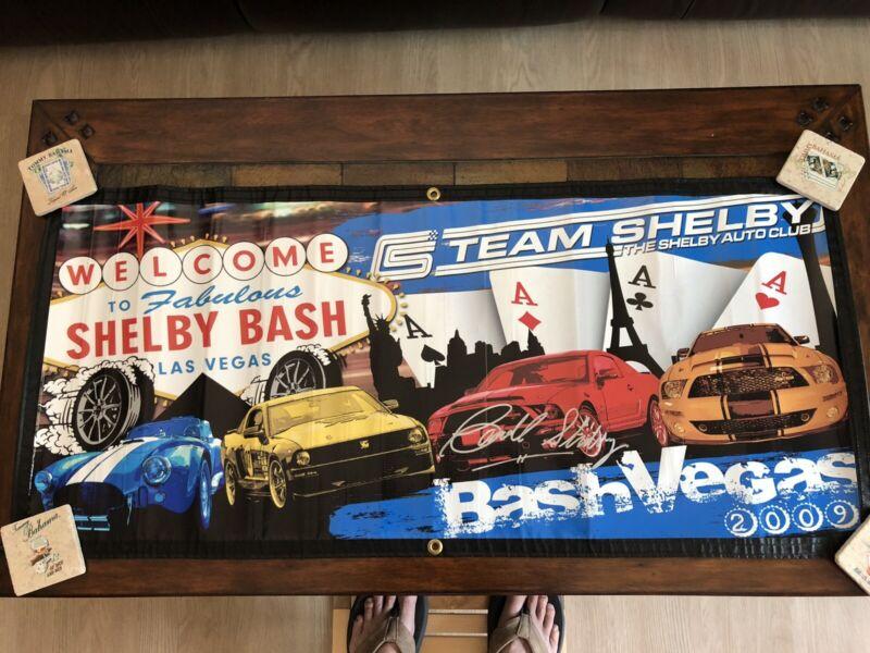 "Carroll Shelby Las Vegas 2009 ""Bash Vegas"" Signed Factory Banner Cobra, Mustang"
