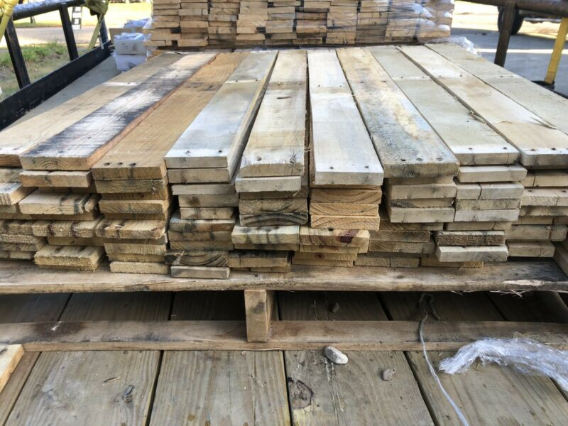 "50 Pack - Pine Pallet Boards (0.5"" x 3.5"" x 36.5"") rustic reclaimed planks."