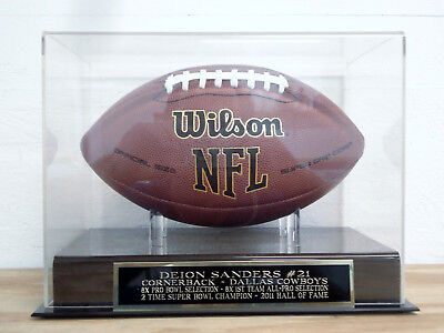 Football Display Case With A Deion Sanders Dallas Cowboys Engraved Nameplate