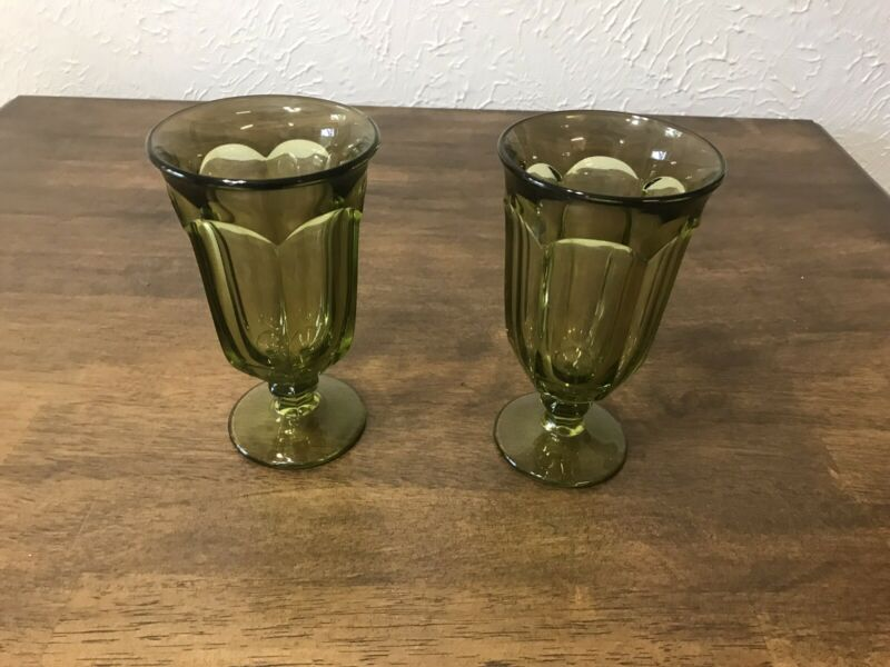Two Imperial Glass Old Williamsburg Verde Green Iced Tea Goblets