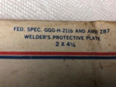 3 Vintage Welding Helmet Lens Shade Plate 2 X 4 14 Ai-10 Fed. Spec. Ggg-h-211b