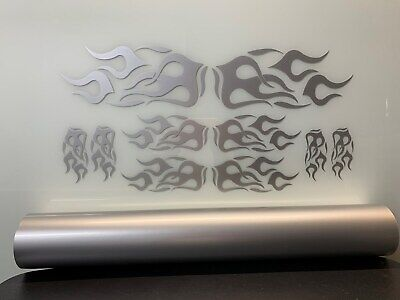 Motorcycle/Wheelchair/Auto/Truck Vinyl Graphic Flame Kit - METALIC SILVER for sale  Independence