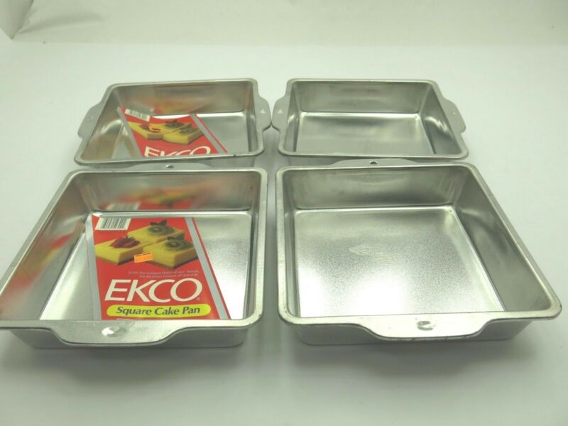 "(NEW) VINTAGE SET OF 4- 8"" x 8"" x 2""  SQUARE METAL CAKE PANS EKCO USA #54300"