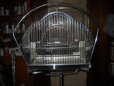 vintage hendryx chrome bird cage and stand