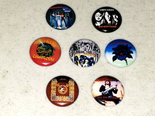 """Thin Lizzy Button 7 1"""" Buttons Pin Pins Badge Badges Albums Phil Lynott - LOT A"""